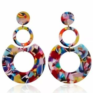 NWT ACRYLIC STATEMENT COLORFUL EARRINGS GREAT GIFT